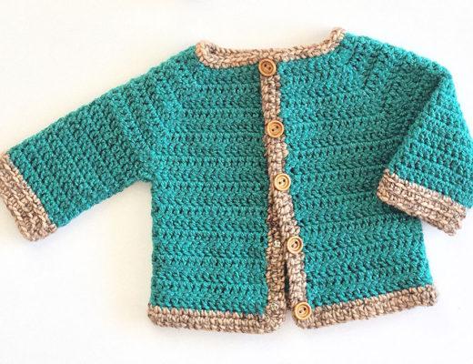 Patron de tejido: como tejer un cardigan de bebé raglán a crochet fácil y rápido