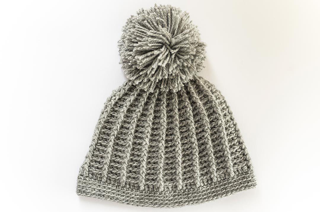 Gorro a crochet punto relieve, patrón de tejido